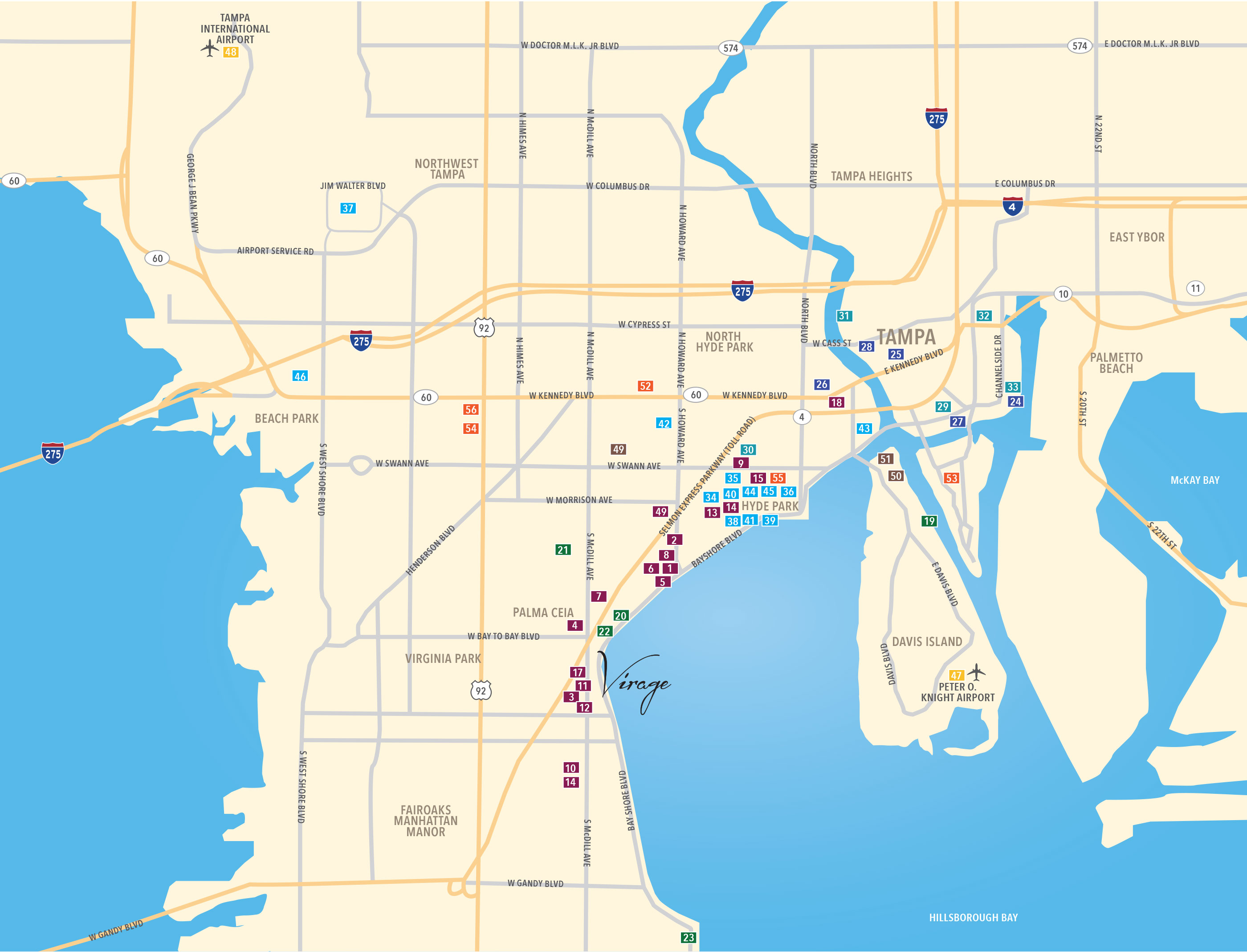 map of South Tampa near Bayshore Blvd