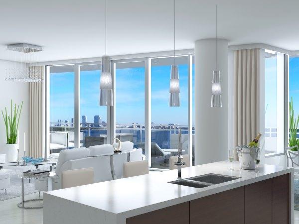 condo sub-zero and wolf appliances in luxury kitchen