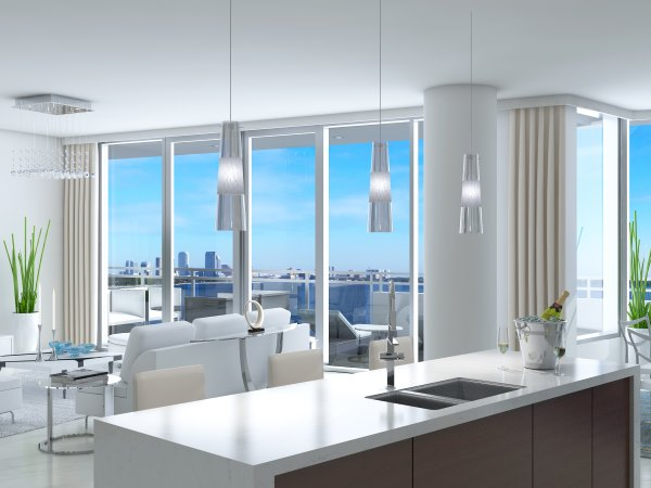 condo sub-zero and wolf appliances in luxury kitchen